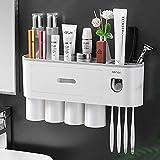 Distributeur Automatique de Dentifrice avec Support Mural pour Brosse à Dents,4 emplacements pour Brosse à Dents avec Couvercle Anti-poussière,tiroir de Rangement pour cosmétiques,4 Tasses