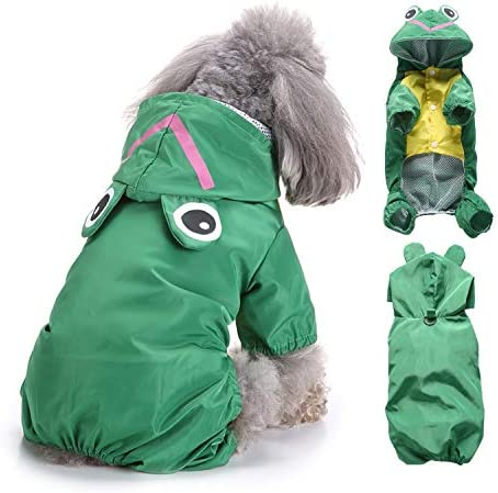 Ranphy Small Dog Hooded Raincoat Cat Waterproof Rain Jacket Pet Animal Costumes Puppy Cute Four-Leg Jumpsuit Doggy Lightweight Dog Rain Poncho Doggie Summer Outdoor Apparel Clothes