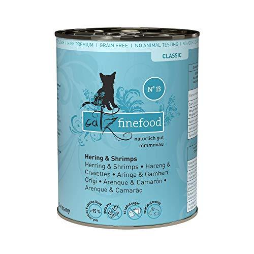 catz finefood N° 13 Hering & Krabben Feinkost Katzenfutter nass, verfeinert mit Kürbis & Aloe Vera, 6 x 400g Dosen