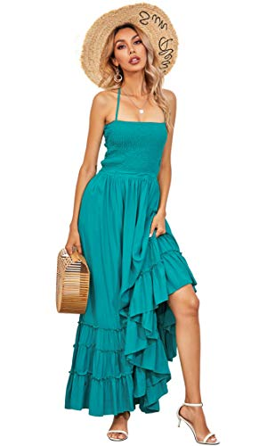 R.Vivimos Womens Summer Cotton Sexy Blackless Long Dresses (Small, Turquoise)