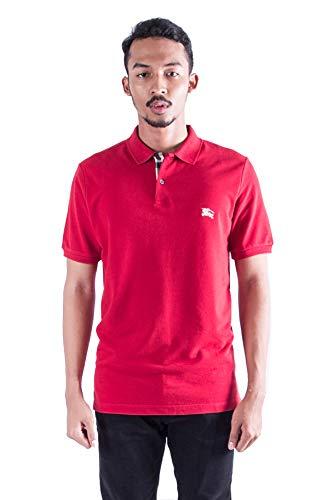 BURBERRY Brit Herren Poloshirt mit Karomuster, Piqué-Stil, Rot Gr. S, Rot (Military Red)