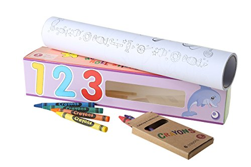 X-Home 15.5-Foot Arabic Numbers Theme Coloring Roll Self-Adhesive on Wall Windows Floor Group Coloring Poster for Preschool Children Includes 6 Crayons (1-2-3)