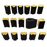 16 Unids/set Almohadilla de lijado 40x100mm en forma de bloque de lijado a mano Disco de lijado Esponja de pulido para gancho & amp;Herramienta abrasiva de papel de lija, negro