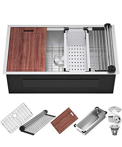 X Home Küchenspüle 84 cm Unterbauspüle 16 Gauge Edelstahl Workstation Küchenspüle unter Theke Einzelschale mit Zubehör alles in einem tiefen Waschbecken
