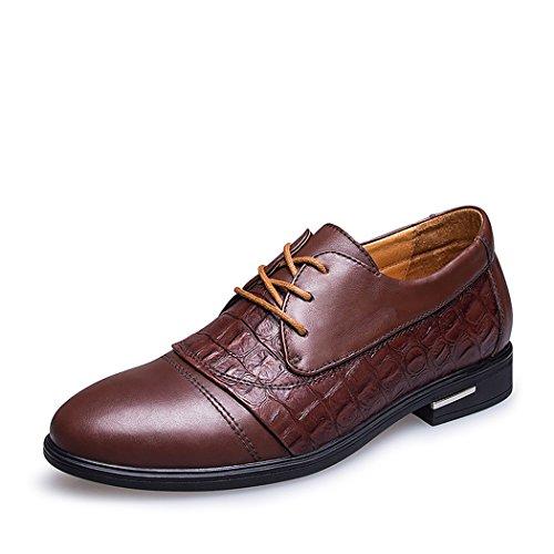 Spades & Clubs Elegante Schuhe, Herren, 6,1cm hoher versteckter Absatz, echtes Krokoleder, für Hochzeiten/ formale Anlässe, braun - braun - Größe: 39 1/3 EU