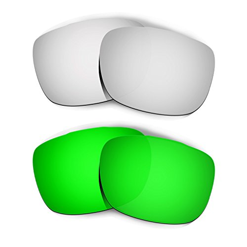Hkuco Plus Mens Replacement Lenses For Oakley TwoFace Titanium/Emerald Green Sunglasses