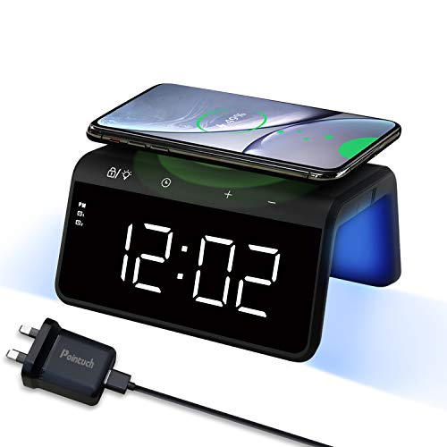 Pointuch Wireless Charger mit Wecker Digital, Qi Induktive Ladestation, Buntes Nachtlicht, USB-Ladeanschluss, 2 Alarmen Snooze, 4 Helligkeit LED Uhr, Qi kabellosem Ladegerät für iPhone Samsung Airpods