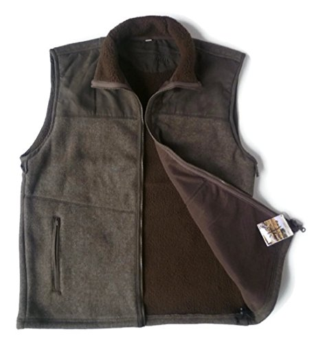 AKAH Jagd Herren Fleece Weste, Outdoor Vest, braun meliert, 4 Taschen (XL)