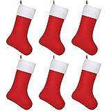 SHareconn Calcetín de Navidad, Tamaño Grande, Calcetines de Fieltro Rojo para Navidad, Bolsa de Regalo, Chimenea Calcetines, para Decoraciones de Navidad, Suministros de Fiesta - 47.5cm / 6 Piezas
