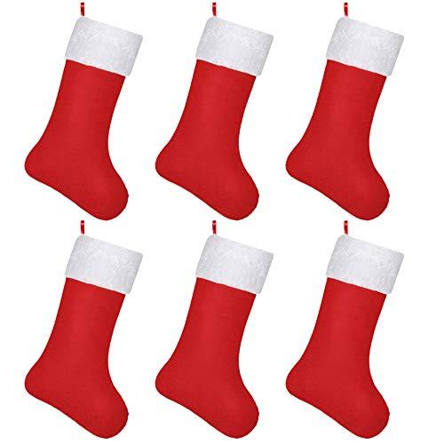 SHareconn 6 Stück Rot Weihnachtsstrumpf Nikolaus Socke Strumpf zum Aufhängen und Befüllen an Weihnachten und Nikolaus Weihnachtsdeko Weihnachten Geschenktasche Zucker Beutel (6X Nikolaussocken)