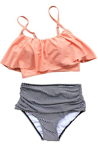 CUPSHE Women's Falbala Design High Waisted Bikini Set Pink Orange