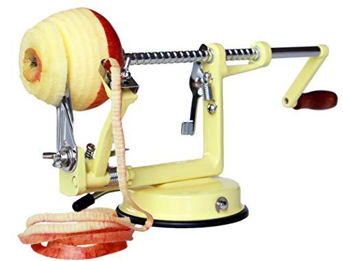 Made for us Profi Alu- Apfelschäler Apfelschneider Apfelentkerner Schälmaschine, in Vanilla-Gelb, original
