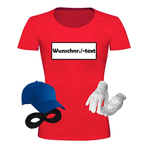 T-Shirt Panzerknacker Kostüm-Set Wunschnummer Cap Maske Karneval Damen XS - 3XL Fasching JGA Weiberfastnacht, Größe:3XL, Logo & Set:Wunsch-Nr./Set komplett (Wunsch-Nr./Shirt+Cap+Maske+Hands.)