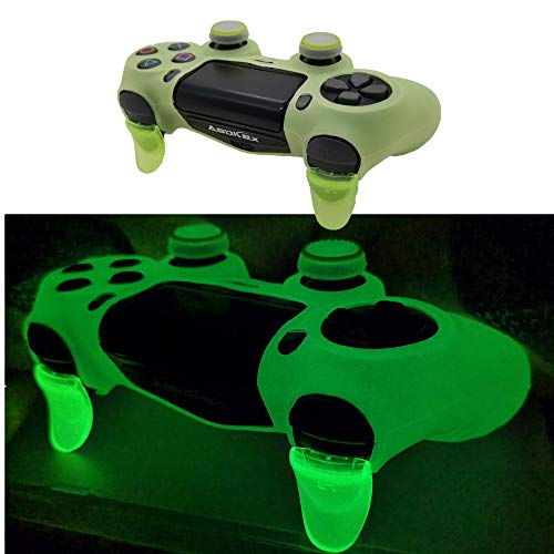 Ps4 Controller Skin Silicone Case Grip Glow in Dark Protective Cover for PS4/slim/Pro Dualshock 4 Controller (Glow Green)