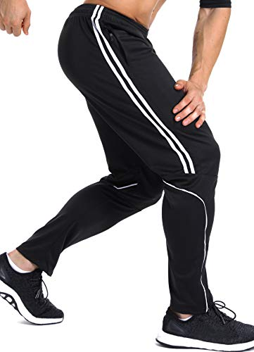 INSTINNCT Herren Lange Trainingshose Sport Jogging Hose Sweatpants mit Reißverschlusstasche Streifen (Weiß) S