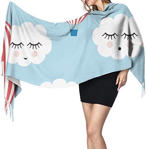 Bonitas nubes sonrientes globos de aire caliente para mujer, chal de cachemira, bufanda suave de cachemira, 196 x 68 cm, gran suave, extra cálida