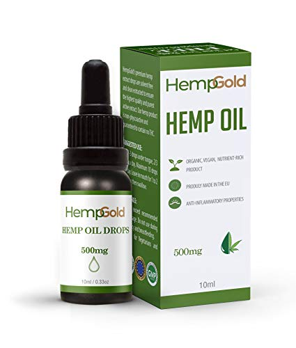 High Strength Hemp Oil Drops | Supports Pain, Anxiety and Stress | Helps with Sleep, Mood, Skin and Hair | Vegan | Dutch Grown Hemp | Made in the UK by HempGold | (500mg)