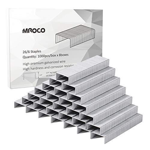 MROCO Staples 8000 Pcs Standard Staples Premium Staples 1/4 Length 20 Sheet Capacity 100/Strip Staples, 1000/ Box