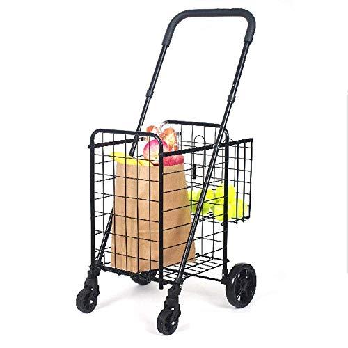 NYDZDM Carrito De La Compra Plegable Cesta Doble Gigante Perfecto For El Supermercado Servicio De Lavandería Equipaje Viaje con Ruedas Giratorias Carro De Servicio (Color : Black)