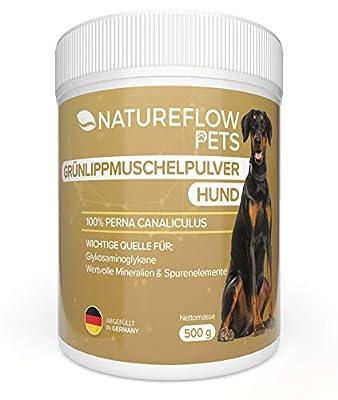 Natürliches Grünlippmuschelpulver Hund - 500g Grünlippmuschel für Hunde zur Unterstützung der Gelenkfunktionen - Grünlippmuschelextrakt mit Hoher Akzeptanz bei Allen Hunden