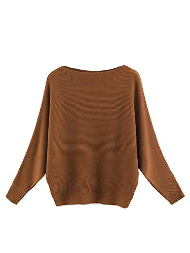 Milumia Women Boat Neck Batwing Long Sleeve Ribbed Knit Plain Sweater Tops Brown One-Size - http://coolthings.us