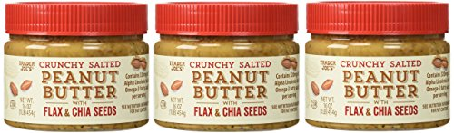 Trader Joe's Crunchy Salted Peanut Butter with Flax & Chia Seeds - 16 oz - Pack of 3