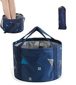 DoroSun 14L Collapsible Foot Soaking Bath Basin Bag with Handles for Kids Portable Pedicure Feet Spa Bucket Tub for Travel Camping Dark Blue
