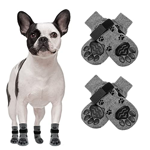 SCENEREAL Anti-Slip Dog Socks 2 Pairs with Straps, Soft Comfortable Pet Paw Protectors for Indoor...