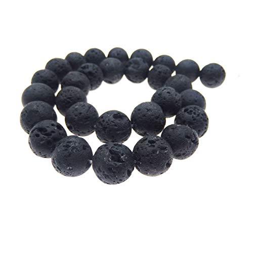 JulieWang schwarze natürliche Energiesteine / Lavasteine, zur Schmuckherstellung, Heilkraft, 4 -20mm, 12 mm