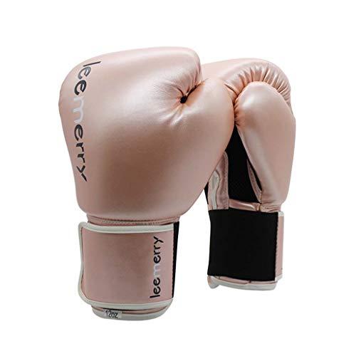 Männer und Frauen Leder Boxhandschuhe Ausbildung Muay Thai Boxsack Mitts Kickboxing Kampf 8-10-12-14 Oz (Farbe : Pink, größe : 12oz)