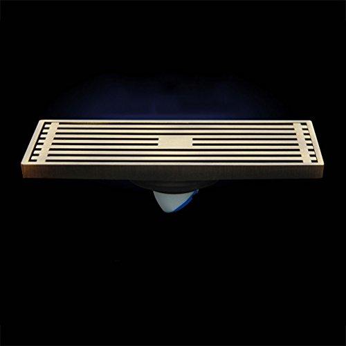 DGF Drain de plancher en cuivre, drain de plancher d'égout de salle de bains de grand déplacement (L200mm * W80mm) Argent, or ( Couleur : Doré )