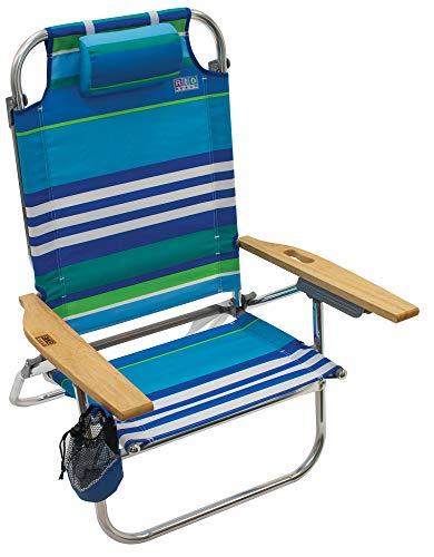 Rio Brands Beach Hi-Boy Folding 5 Position Lay Flat Beach Chair - More Than A Blue Stripe (ASC612-1700-1)