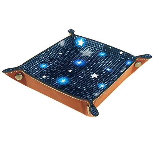 Valet Tray PU Leder Schmuck Tablett Würfel Box Nachttablett Schlüssel Telefon Münzwechsel Uhren und Süßigkeitenhalter Diverses Eingangsbereich Tablett, abstrakte blaue Sterne Fliesen