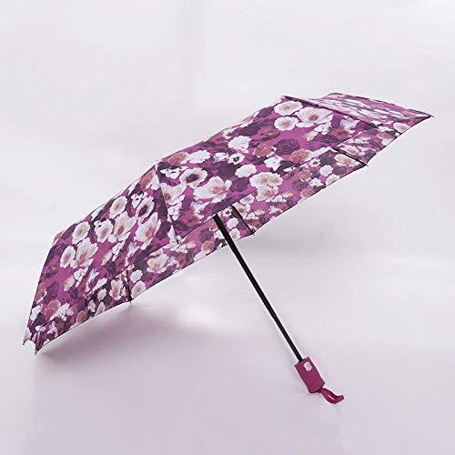 Sonnenschirm Regenschirm Kreative Blume Automatischer Regenschirm Regen Frauen Männer 3-Fach Leicht Und Langlebig Starke Bunte Regenschirme Kinder Regnerisch Sonnig Lila