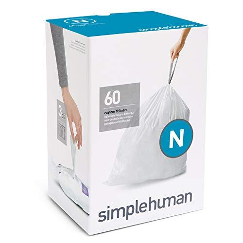 simplehuman - Bolsas de basura a medida, color blanco, código N -...