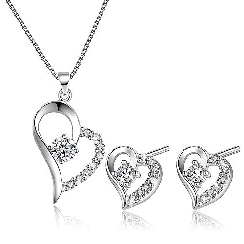 E.INFINITY Collar de Amor y corazón con Colgante para Mujer y Pendientes, Conjunto de Joyas de Plata de Ley para Ella