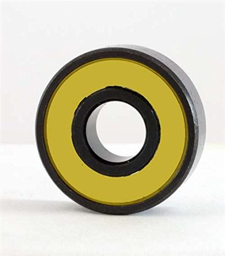 VXB Brand 100 Sealed Skate/Skateboard Black Bearing with Yellow Seals Color: Black Closures: 2 Yellow Removable Yellow Seals