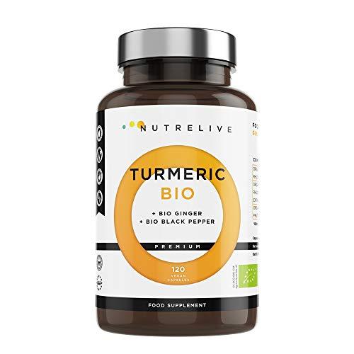 Cúrcuma ECO + Jengibre ECO + Pimienta negra ECO. Producto certificado. Máxima concentración de cúrcuma en cápsulas 1490 mg. Excelente antiinflamatorio Natural y...