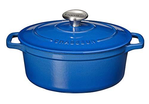Chasseur Schmortopf, oval, Gusseisen, 33 x 25 cm, Blau