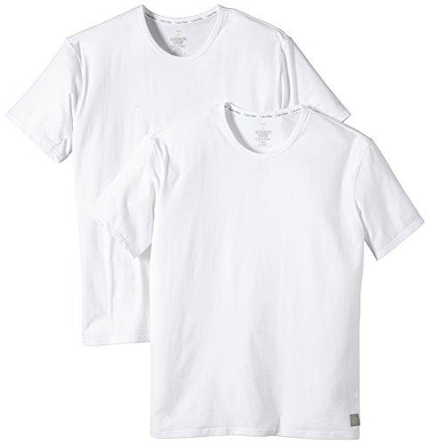 Calvin Klein CK ONE - Cotton Stretch 2 Pack Crew U8509A Herren Unterwäsche/ Unterhemden, Gr. 4 S, Weiß (100)