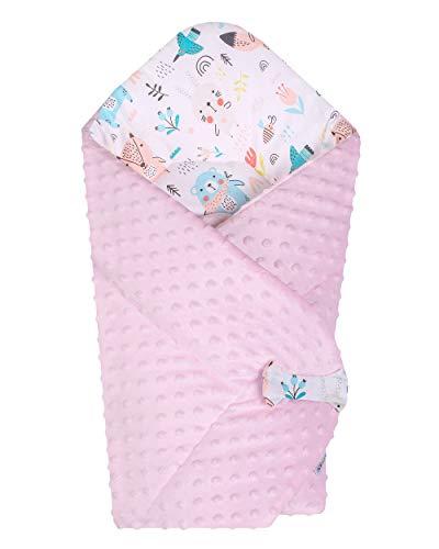 BlueberryShop Minky Fleece Baby Swaddle Wrap Dekbedovertrek | Slaapzak voor pasgeborenen met twee zijdes | Bestemd voor kinderen 0-3 maanden | Perfect als babydouchegeschenk | 75 x 80 cm | Roze-wit