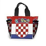 トートバッグ ランチバッグ お弁当バッグ 手提げバッグ クロアチアの旗 食品収納 大容量 軽量 メッシュポケット付き ファミリー 日常用