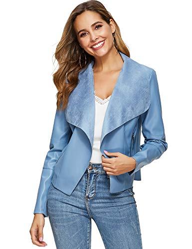 Escalier Women's Faux Leather Jackets Slim Open Front Lapel Blazer Jackets Light Blue L