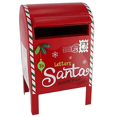 Christmas Cassetta Postale per Letterina di Babbo Natale Decorazione Natalizia in Metallo con Buca Lettere e Decorazioni...