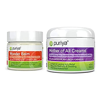 Puriya Tea Tree Oil Balm and Mother of All Creams with Light Peppermint Scent Bundle Set Plant Rich Wonder Balm Moisturizing Cream for Dry Itchy and Sensitive Skin