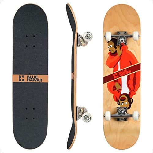 BLUE HAWAII Skateboard 78.7 x 20.3 cm Komplette Cruiser Skateboard, 7-lagigem Hochdichtes Ahornholz Deck mit ABEC-9 Kugellager, für Kinder, Jugendliche und Erwachsene (Like-or-Not)