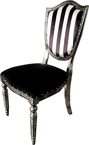 Casa Padrino Art Deco - Silla de Comedor, Rayas Blancas Negras/Estilo Antiguo Plateado - Muebles de