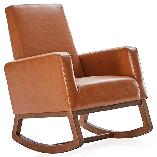 BELLEZE Modern Rocking Chair Upholstered Faux Leather High Back Armchair Padded Seat for Living Room, Caramel