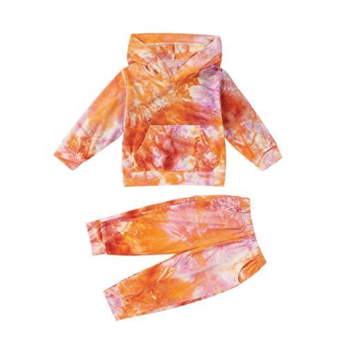T TALENTBABY Kleinkind Baby Jungen M?dchen Tie Dye Velvet Hoodie Sweatshirt Neugeborenes Kind Langarm Pullover Sweatshirt Hosen Loungewear Outfit Sets, Orange Rose, 12-18 Monate