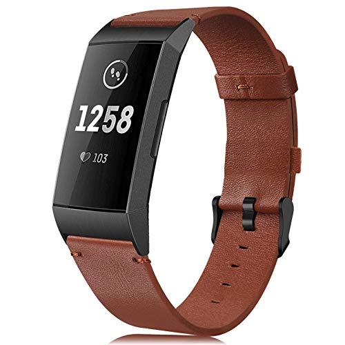 Find-MyWay Cinturini Compatibile per Fitbit Charge 3/Charge 4 Cinturino in Pelle per Donna e Uomo Accessori Sportivo Braccialetti (Nessun Tracker)